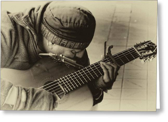 Street Musicians Greeting Cards - Street Tunes Greeting Card by David Patterson