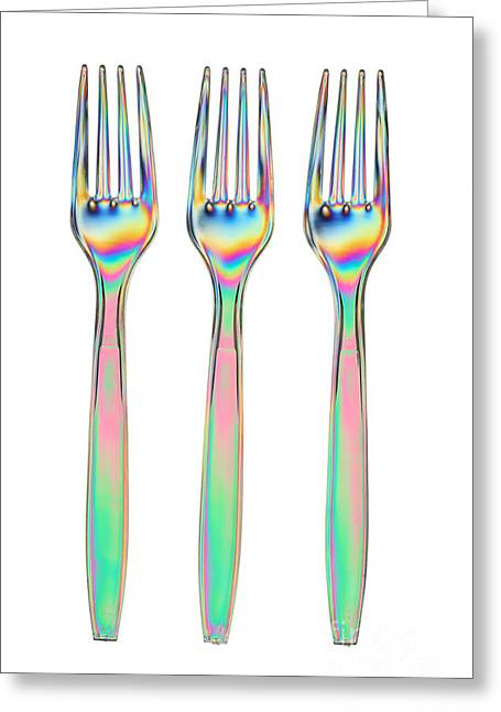 Double Rainbow Greeting Cards - Stress In Plastic Forks Greeting Card by Ted Kinsman