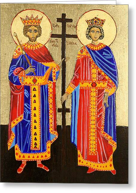 Orthodox Paintings Greeting Cards - Sts. Constantine and Helen Greeting Card by Amy Reisland-Speer