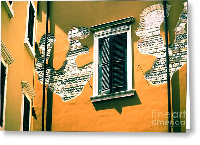 Broken Shutters Greeting Cards - Stucco and Brick Patterns on Buildings in Verona Italy Greeting Card by Gordon Wood