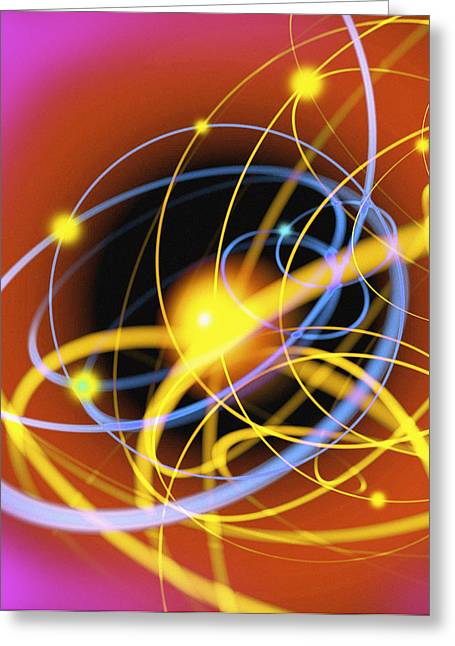 Neutron Greeting Cards - Subatomic Particles Abstract Greeting Card by Mehau Kulyk