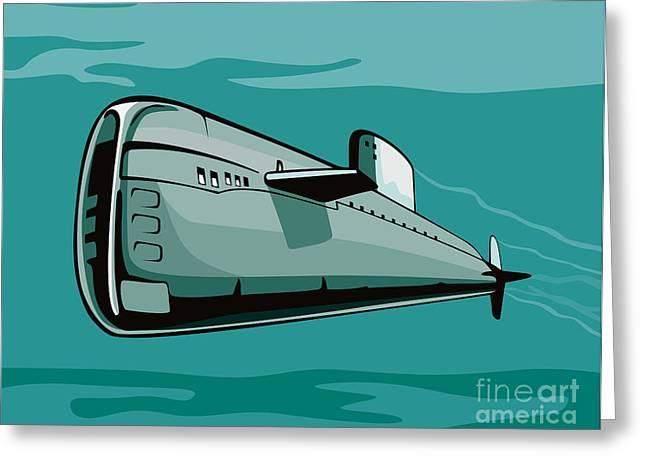Submarine Boat Retro Greeting Card by Aloysius Patrimonio