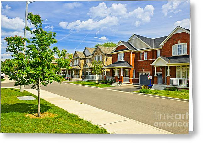Townhouses Greeting Cards - Suburban homes Greeting Card by Elena Elisseeva