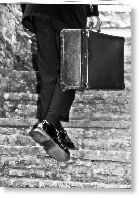 Black Man Greeting Cards - Suitcase Greeting Card by Joana Kruse