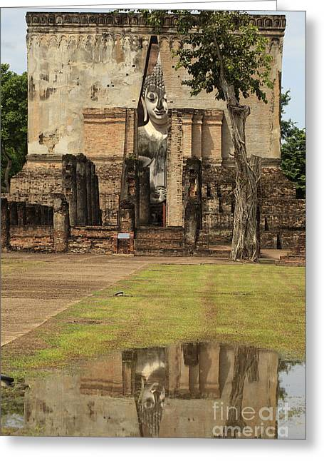 Reflex Greeting Cards - Sukhothai historical temple park in Thailand. Greeting Card by Anek Suwannaphoom