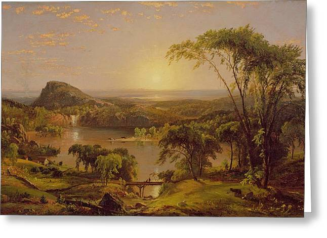 Quebec Paintings Greeting Cards - Summer Lake Ontario Greeting Card by Jasper Francis Cropsey