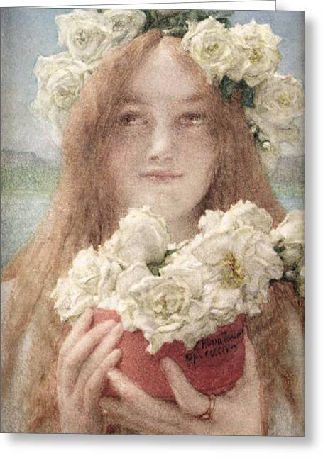 Soft Romantic Greeting Cards - Summer Offering Greeting Card by Sir Lawrence Alma-Tadema