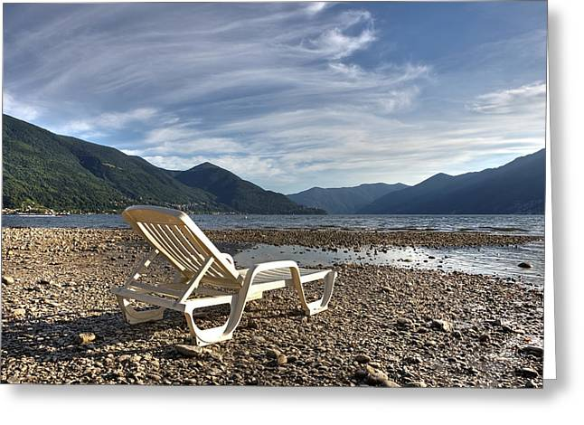 Lago Greeting Cards - Sun chair on Lake Maggiore Greeting Card by Joana Kruse