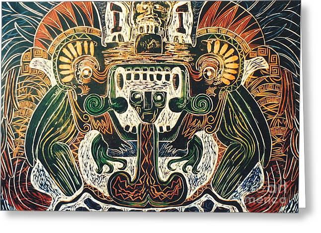 Linocut Greeting Cards - Sun God    6 of 6 Greeting Card by Pamela Iris Harden