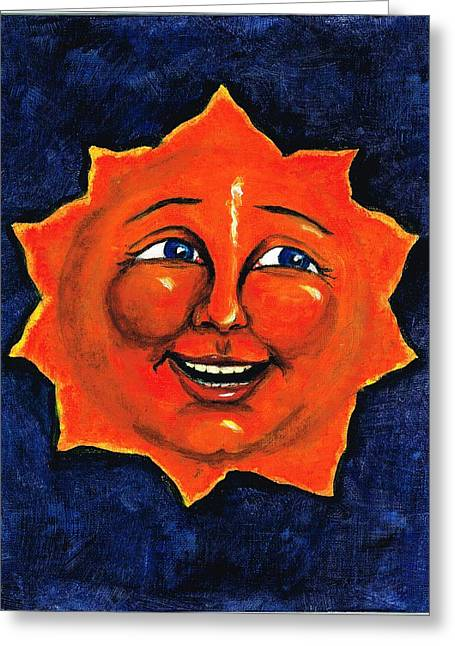 Man In The Moon Greeting Cards - Sun Greeting Card by Sarah Farren