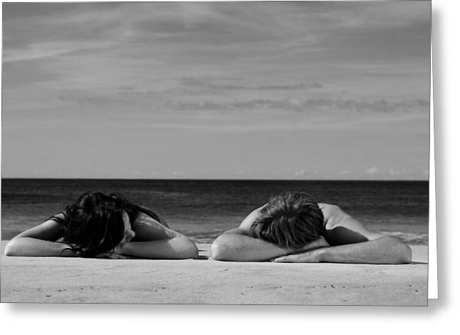 Sun Baking Greeting Cards - Sunbathers Greeting Card by Noel Elliot