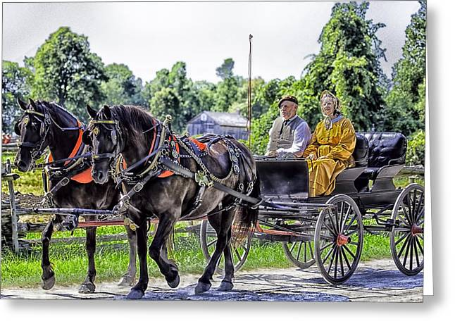 Sunday Buggy Ride Greeting Card by Richard Lee