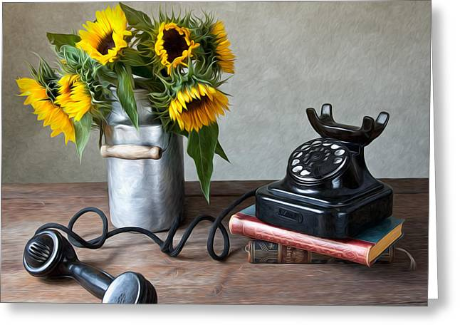 Floral Still Life Greeting Cards - Sunflowers and Phone Greeting Card by Nailia Schwarz