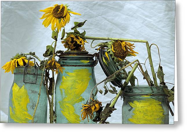 Sunflowers .helianthus Annuus Greeting Card by Bernard Jaubert