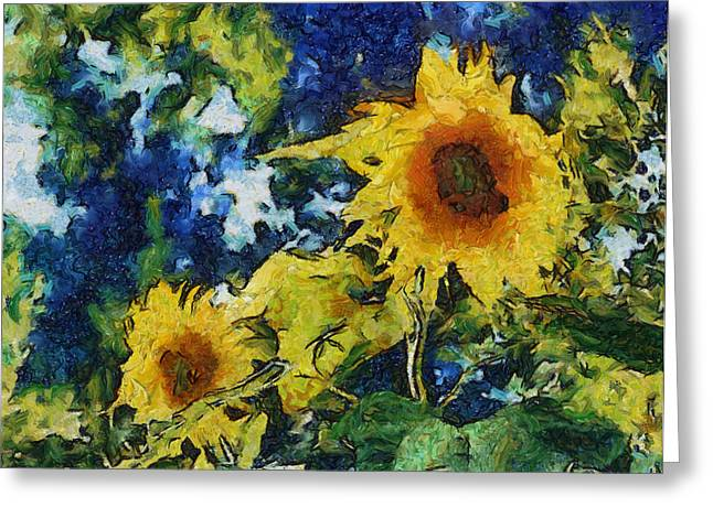 Texture Floral Greeting Cards - Sunflowers Greeting Card by Michelle Calkins