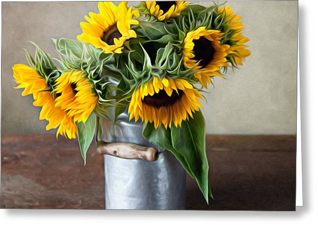 Yellow Sunflower Greeting Cards - Sunflowers Greeting Card by Nailia Schwarz
