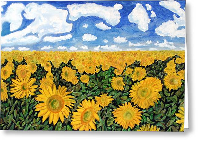 Origional Greeting Cards - Sunflowers That Ate Manhattan Greeting Card by Michael Ledray