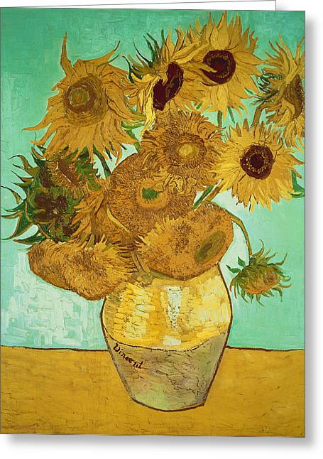 Canvas Floral Greeting Cards - Sunflowers Greeting Card by Vincent Van Gogh