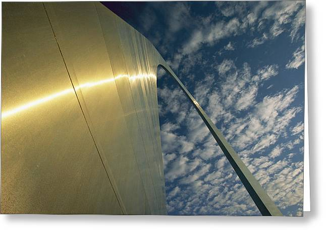 Historic Site Greeting Cards - Sunlight Beams On The Gateway Arch Greeting Card by Joel Sartore
