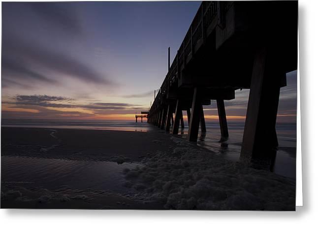 Tybee Island Pier Greeting Cards - Sunrise Greeting Card by Gagan  Dhiman