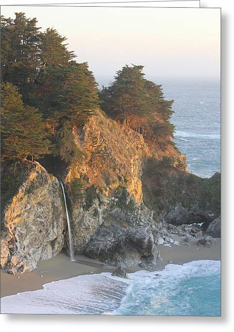 Big Sur Greeting Cards - Sunset at McWay falls Greeting Card by Victor Vieyra