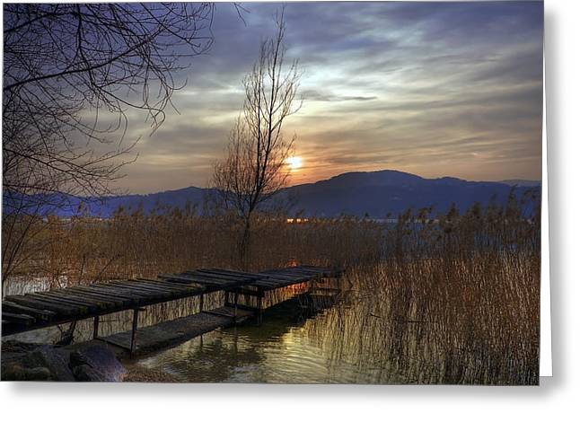 Wooden Bridges Greeting Cards - sunset at the Lake Maggiore Greeting Card by Joana Kruse