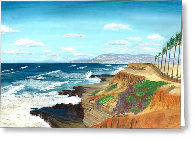 Tropical Oceans Pastels Greeting Cards - Sunset Cliffs Greeting Card by Jackie Novak