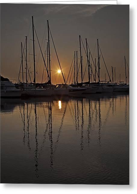 Sailing Boat Greeting Cards - Sunset Greeting Card by Joana Kruse