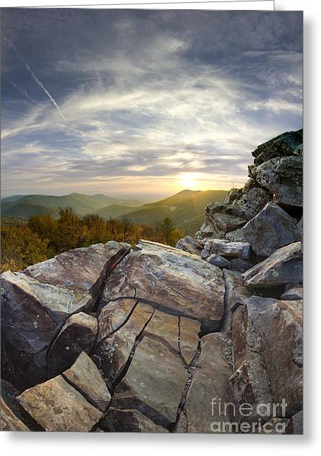 On Black Greeting Cards - Sunset on Black Rock Mountain Greeting Card by Dustin K Ryan