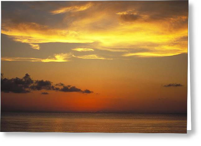 Sunset On Horizon Of Caribbean Sky Greeting Card by James Forte