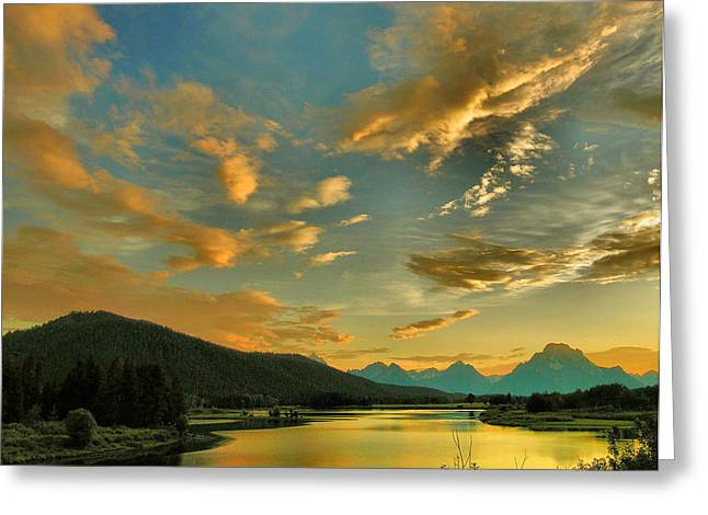 Framed Landscape Print Greeting Cards - Sunset on the Snake River  Greeting Card by Steven Ainsworth