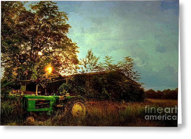 Country Shed Greeting Cards - Sunset on Tractor Greeting Card by Benanne Stiens