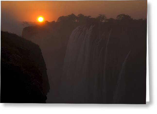 Zambia Waterfall Greeting Cards - Sunset Over Cascading Victoria Falls Greeting Card by Ralph Lee Hopkins