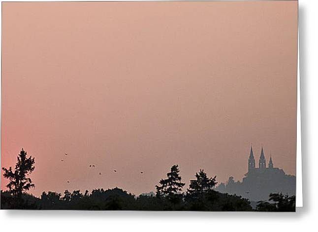 Castle On Mountain Greeting Cards - Sunset over Holy Hill 4 Greeting Card by Jennifer Brindley