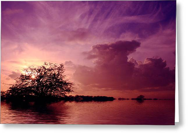 Reflections Digital Art Greeting Cards - Sunset over the lake  Greeting Card by David French