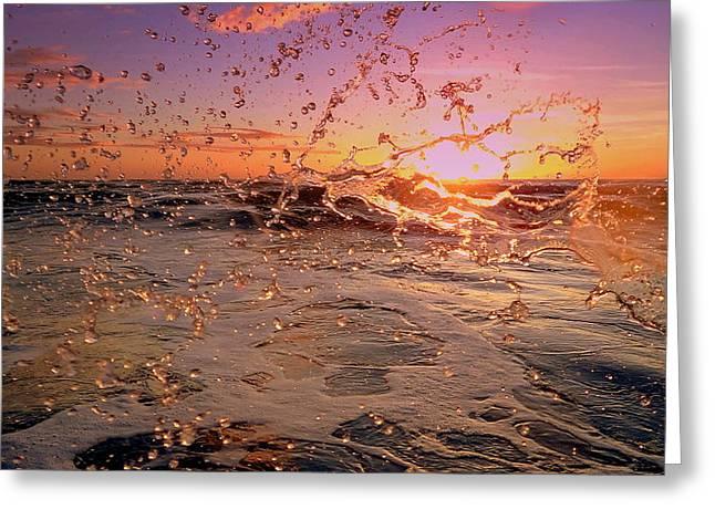 Phot Art Greeting Cards - Sunset Splash Greeting Card by Jeremy Smith
