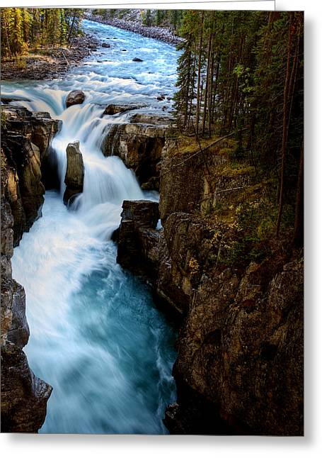 Fall River Scenes Greeting Cards - Sunwapta Falls in Jasper National Park Greeting Card by Mark Duffy