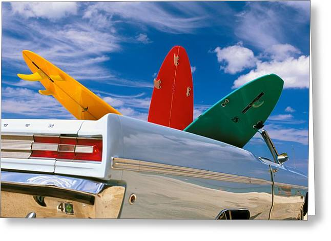 Surfing Art Greeting Cards - Surboards In A Plymouth Greeting Card by Dana Edmunds - Printscapes