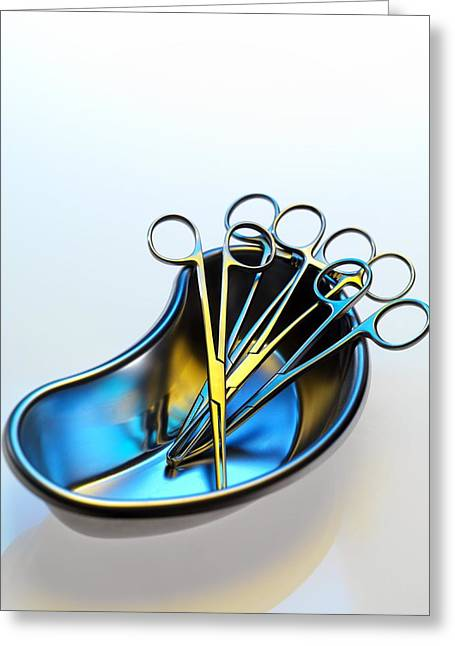 Scissors Greeting Cards - Surgical Instruments In A Dish Greeting Card by Tek Image
