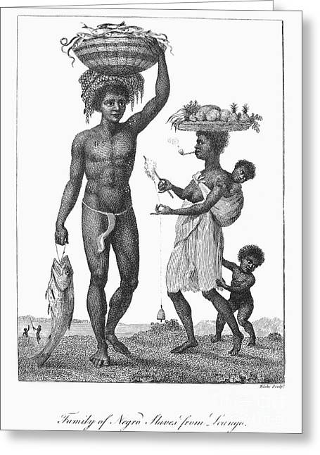 Slaves Greeting Cards - Surinam: Slave Family, 1796 Greeting Card by Granger