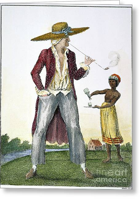 Smoker Greeting Cards - Surinam: Slave Owner, 1796 Greeting Card by Granger