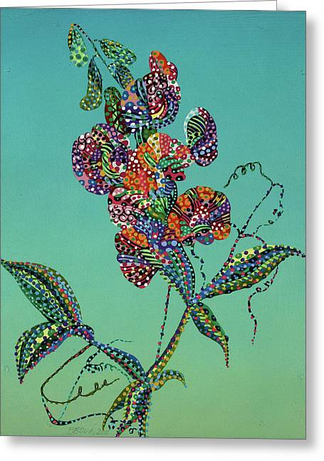 Nature Greeting Cards - Sweet Pea Greeting Card by Erika Pochybova