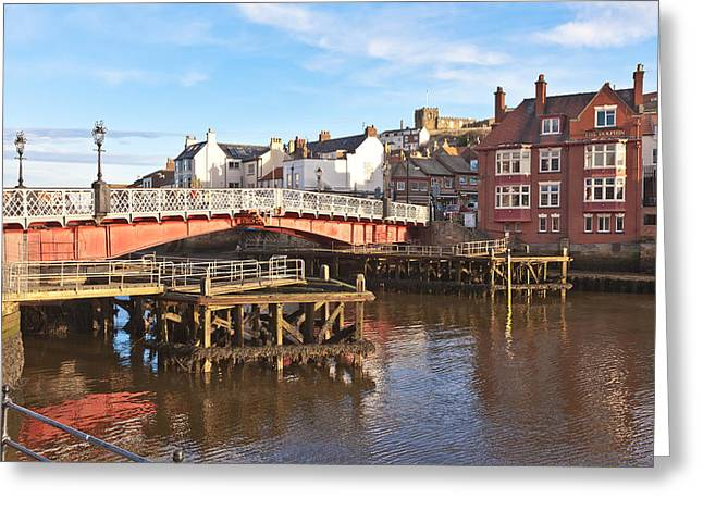 Abbey Giclee Print Greeting Cards - Swing Bridge Greeting Card by Gary Finnigan