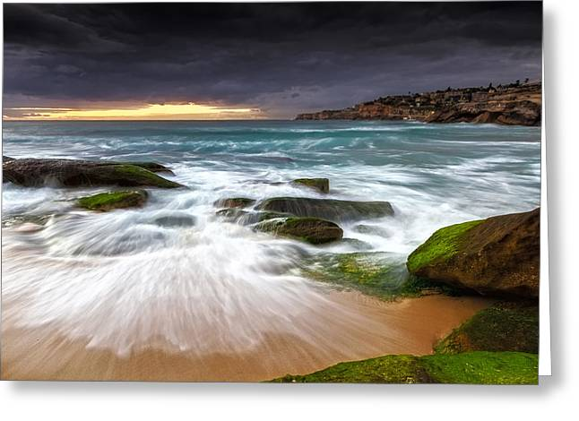 Seascape With Clouds Greeting Cards - Swirls on the Rock Greeting Card by Mark Lucey
