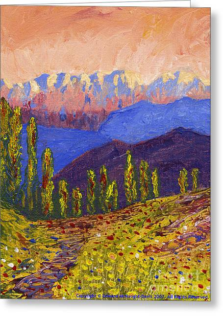Pink Reliefs Greeting Cards - Swiss Alps Impasto Greeting Card by Edward McNaught-Davis