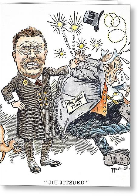 Monopoly Greeting Cards - T. Roosevelt Cartoon Greeting Card by Granger