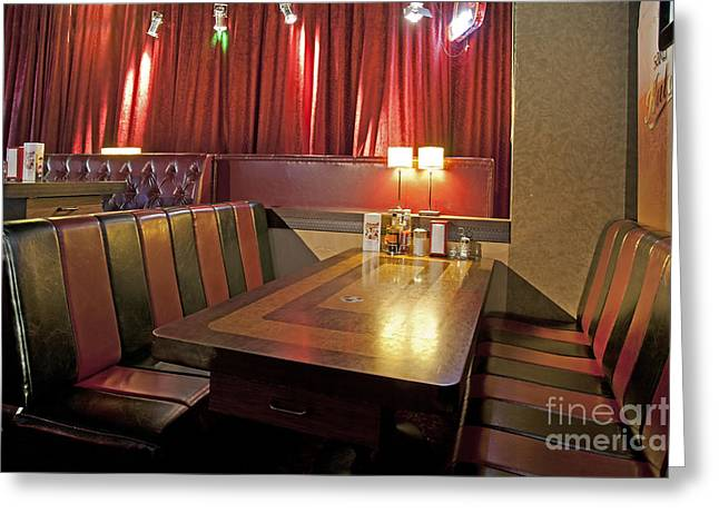 Tallinn Greeting Cards - Table and Booths at an Americana Diner Greeting Card by Jaak Nilson