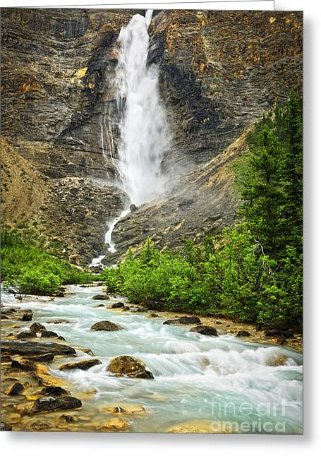 British Columbia Greeting Cards - Takakkaw Falls waterfall in Yoho National Park Canada Greeting Card by Elena Elisseeva