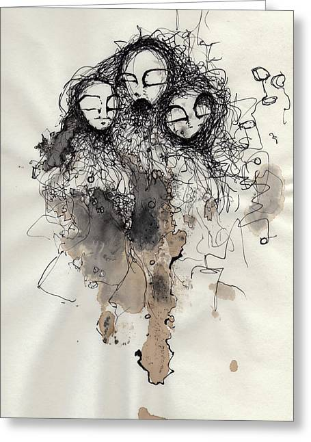 Ink Drawing Greeting Cards - Talking To Yourself Again  Greeting Card by Mark M  Mellon