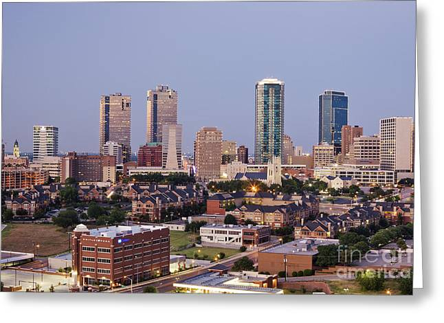 Office Space Photographs Greeting Cards - Tall Buildings in Fort Worth at Dusk Greeting Card by Jeremy Woodhouse